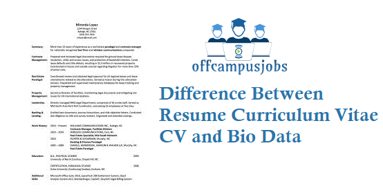 What is Difference Between Resume Curriculum Vitae CV Bio Data