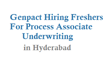 Genpact Hiring Freshers For Process Associate Underwriting in hyderabad
